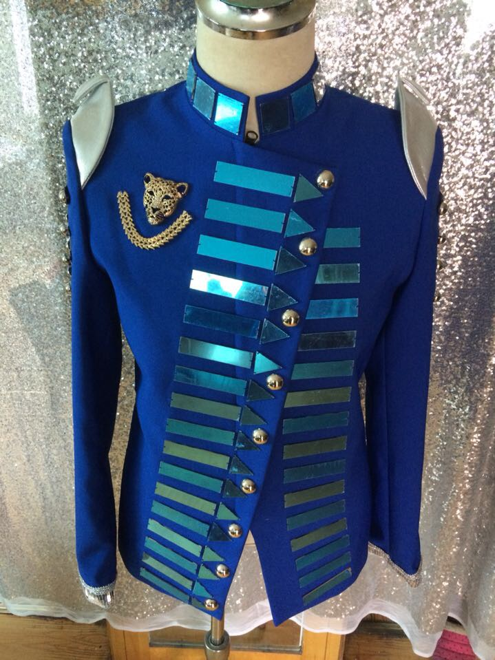 Fashion new Men's Personality Handmade Slim Blue Mirror Jacket Costumes Nightclub Male Singer Stage Show Performance Outfit