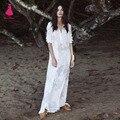 Atractivo de la Playa de Vacaciones Vestido Maxi Larga Da Vuelta-abajo Blanco Perspectiva de Hadas Bohemia Side Dividir Moda Mujer de Manga Larga femme