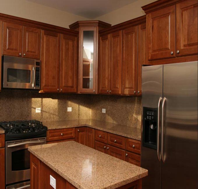 Wood grain chipboard/PVC faced MDF simple cheap display kitchen cabinets ...