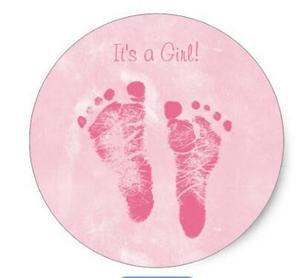 Image 1 - Imprimé sur pied pour petite fille, autocollant rond classique, 1.5 pouces, annonce de naissance
