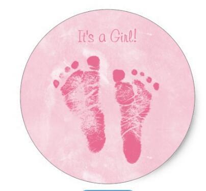 Imprimé sur pied pour petite fille, autocollant rond classique, 1.5 pouces, annonce de naissance