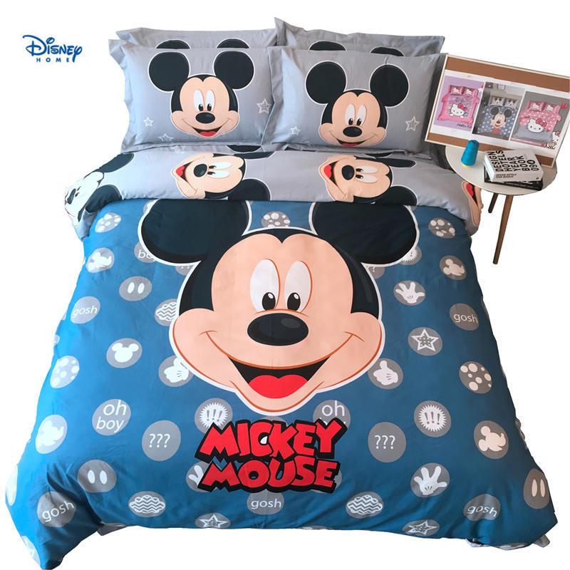 Bleu mickey mouse literie douillette double taille 100% coton housse de couette drap de lit queen roi couvertures couvre-lit roi chambre