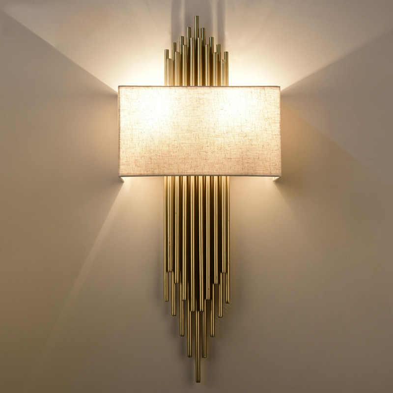 Роскошные современные Медь трубы Комбинации прямоугольная ткань тканевый настенный абажур канделябр свет E14 настенный светильник отель домой кафе Арт Декор
