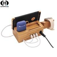 Multi function mobile phone holder for Bluetooth wireless headset iPad watch bamboo wood USB base charging bracket