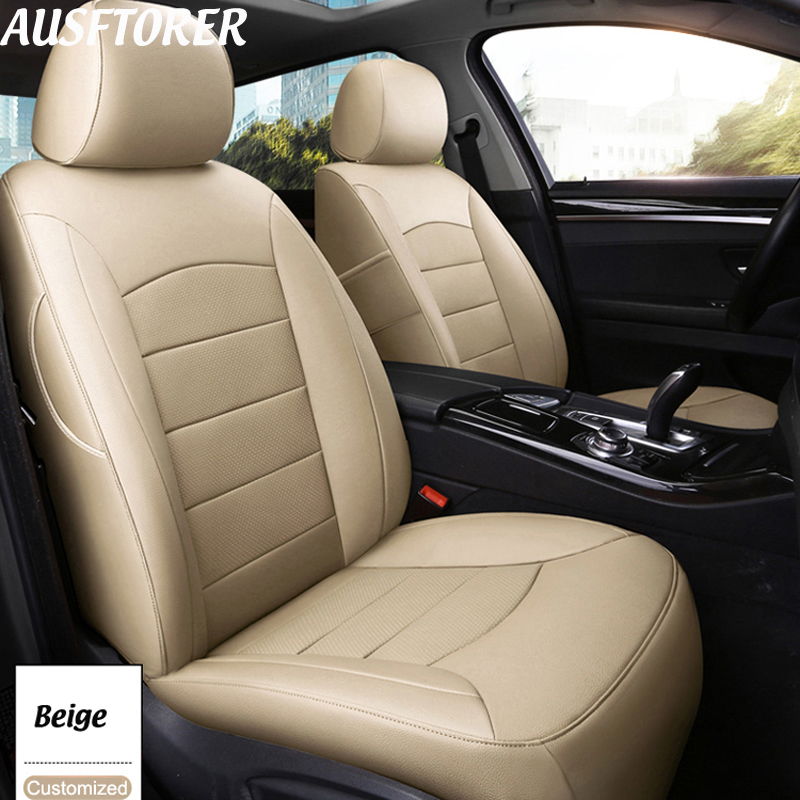 AUSFTORER Genuine Leather Covers Seat for Mercedes-Benz <font><b>B</b></font> <font><b>180</b></font> 200 250 260 Car Seat Cover Sets Cowhide Seat Protector Accessories image