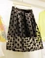 Fashion High Waist Skirts 2017  Womens Black Tulle Princess Mesh Organza skirt Polka Dots Ball Gown Saias Femininas Plus Size