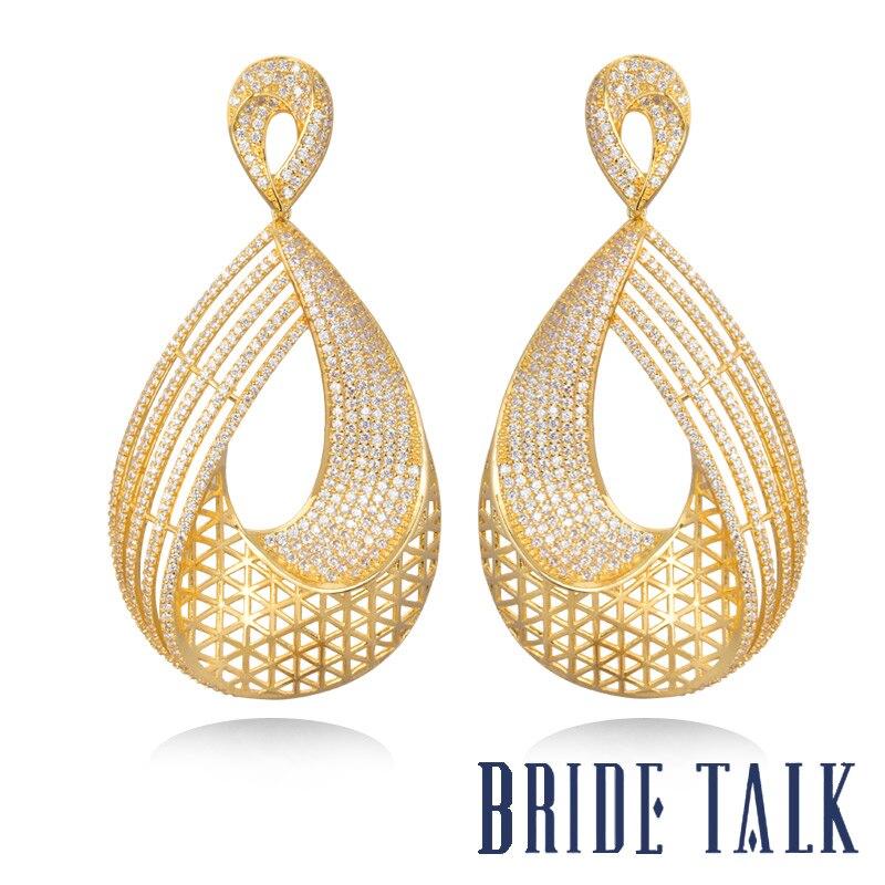 Роскошные брендовые Серьги невесты, новый дизайн, хит продаж, серьги капли, ювелирные изделия, бесплатная доставка, блестящий Фианит, подход