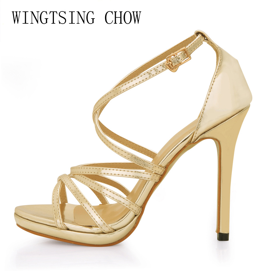 2016 New Gold Sexy Wedding Party Shoes Women Open Toe Thin High Heels Gladiator Rome Buckle Lady Sandals Zapatos Mujer 0640A-4b  rome new sexy high heels wedding shoes woman 2017 brand cross tied women luxury retro square toe gladiator sandals women boots