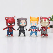 Q version The Avengers Spiderman Cat Spider-man Superhero Captain America Winter Soldier Iron man Action figure PVC Model Toys(China)