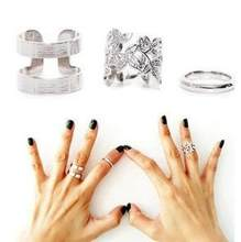 Min order is $10(mix order)Korean jewelry 1 SET=3PCS fabulous three-piece metal joint rings blade jewelry ring(China)