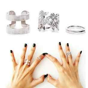 Min order is $10(mix order)Korean jewelry 1 SET=3PCS fabulous three-piece metal joint rings blade jewelry ring