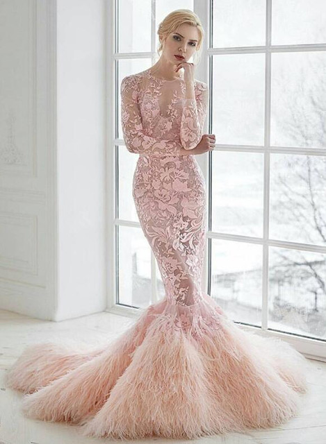 Y Illusion Pink Lace Mermaid Wedding Dresses 2017 Long Sleeve Court High Quality Feathers Bride Dress