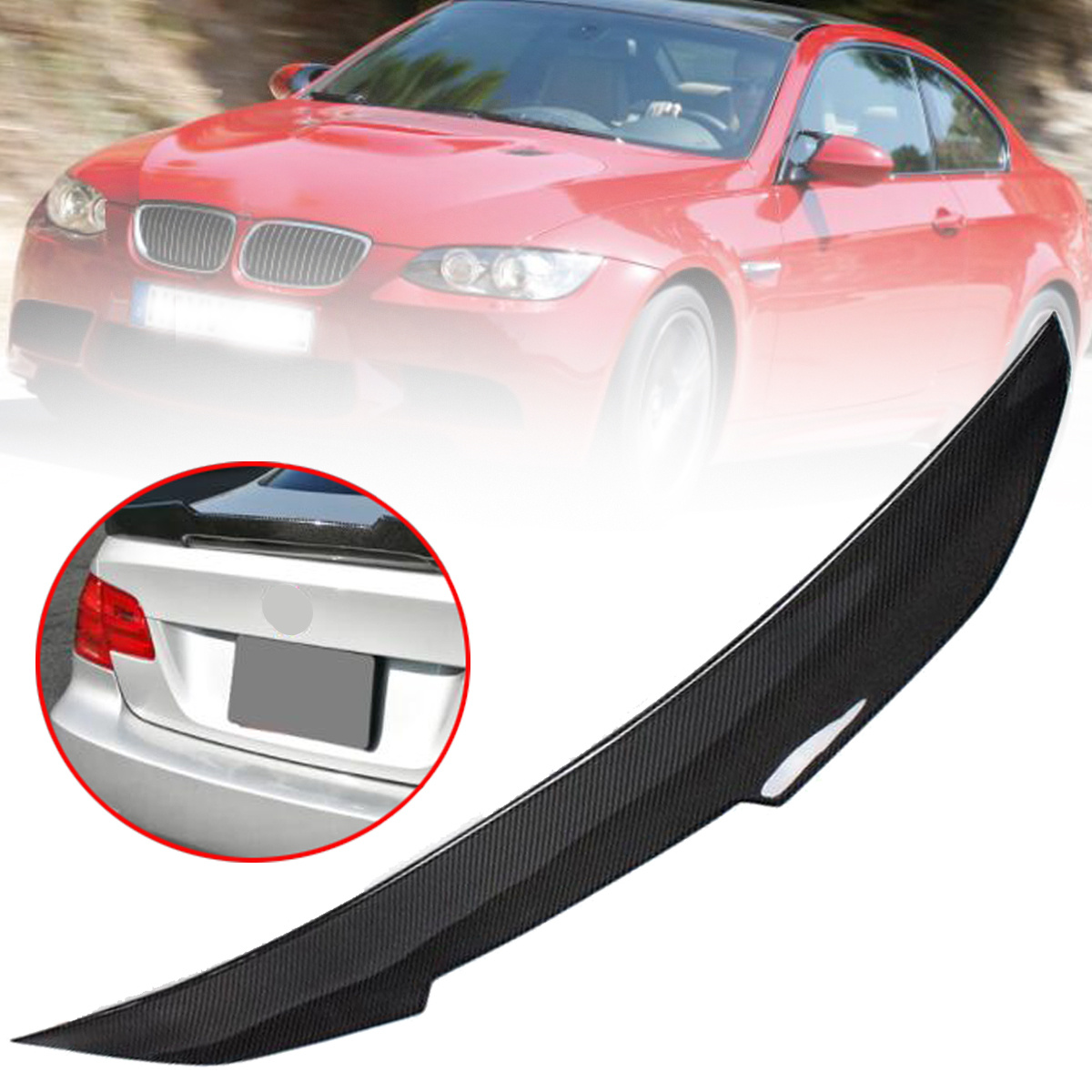 REAL Carbon Fiber High Kick Trunk Spoiler Wing For BMW E92 Coupe 328i 335i M3