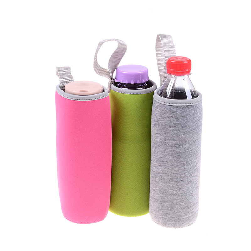 Neoprene Insulated Water Bottle Cover Pouch Sleeve Bag Holder w// Clip Blue