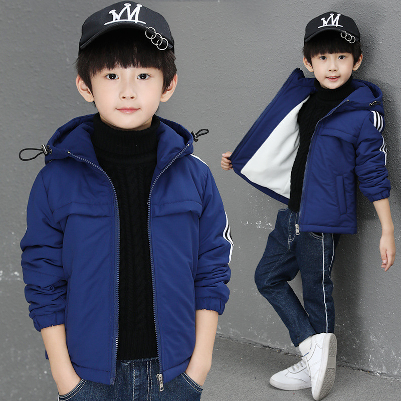 2018 Autumn And Winter New Big Children Hooded Jacket Boys Plus Velvet Thick Quilted Windbreaker Jacket2018 Autumn And Winter New Big Children Hooded Jacket Boys Plus Velvet Thick Quilted Windbreaker Jacket