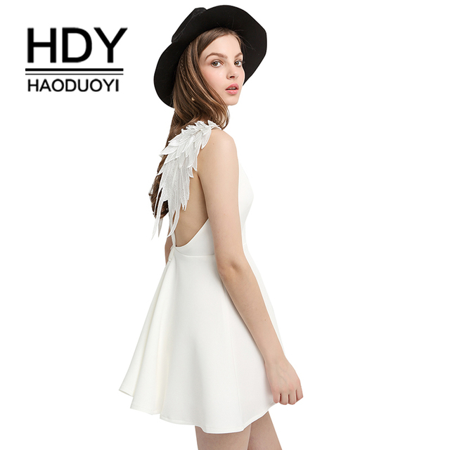 HDY Haoduoyi Women Dress Sexy Braces Dress Casual Party Dress Lace Angle  Wings Beach Dress Solid Backless Mini Dress Vestidos 49a0d56479a3
