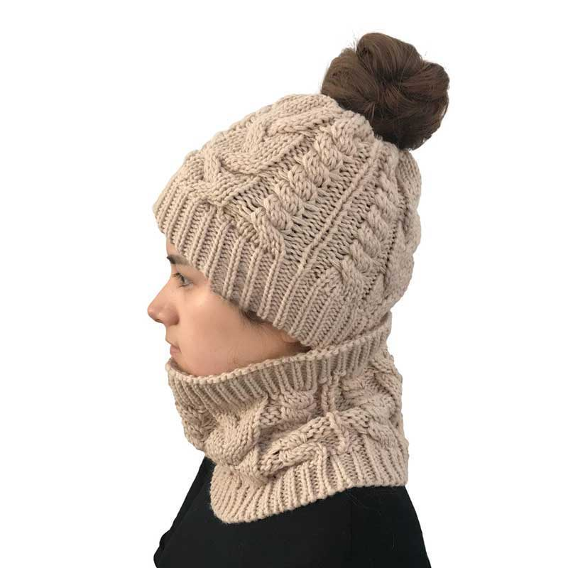 Winter Hats For Women Scarf Cap Balaclava Mask Neck Warmer Beanie ... ff1ef56d388