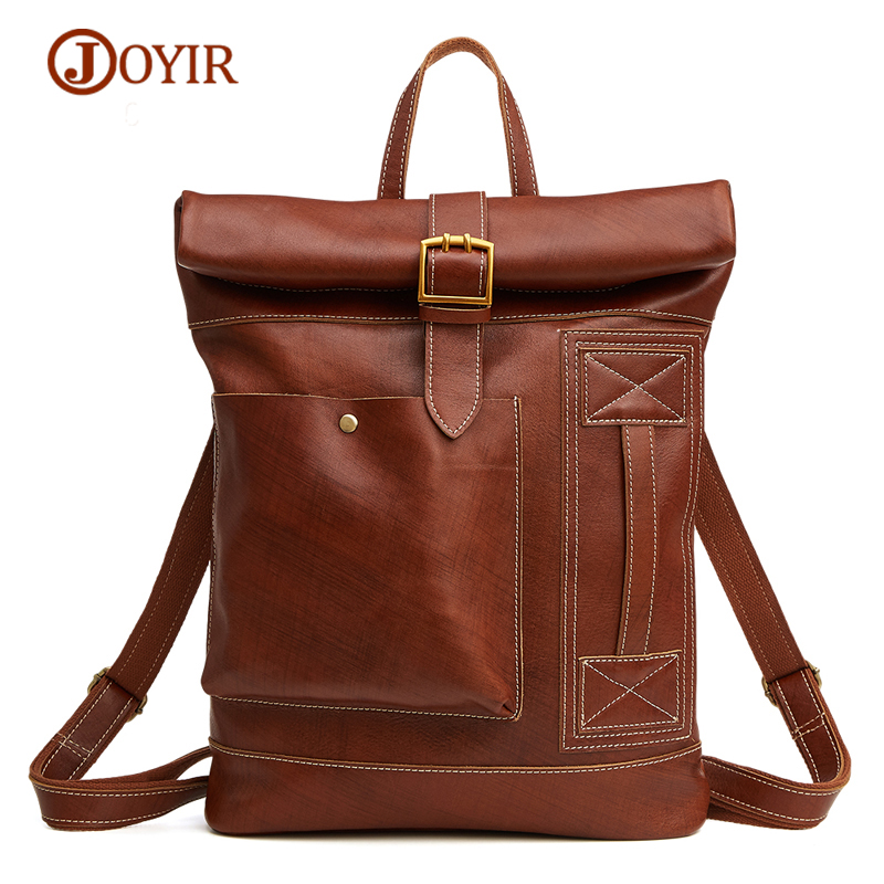 JOYIR Men Backpacks 100% Genuine Leather School Backpack for Men's Travel Bag Vintage School Bags Backpack Male Cow Leather Bags zznick 2018 new genuine cowhide leather backpack men school bags bagpack men s travel bags male backpacks laptop bag pack 3906 1
