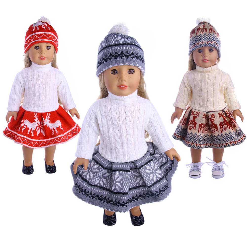 New 18inch Doll Clothes fits American Girl Today Dolls Sweater+ Skirt + Beanie Hat - 3 pcs/Set Sweater Outfit with Snowflake pink wool coat doll clothes with belt for 18 american girl doll