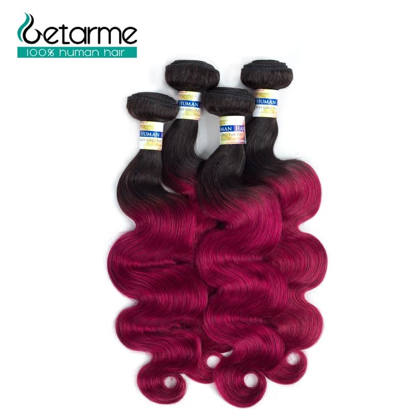 1b/burg Ombre Human Hair Bundles Brazilian Body Wave Dark Roots Hair 4 Bundles 100% Human Hair Getarme Non Remy hair