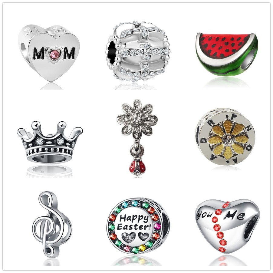 Sterling Silver Charm Bracelet With Attached 3D Watermelon Slice Fruit Charm With Detailed Seeds