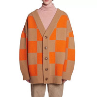 Women Orange Plaid Long Batwing Sleeve V Neck Wool Loose Autumn Winter Cardigans Sweater Coat