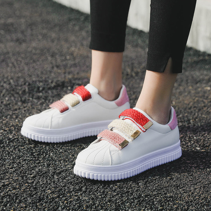 Leather White Shoes Female 2018 New Fashion Wild Platform Sneakers Woman Increase Casual Flat Shoes women Zapatos De Mujer