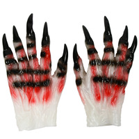 1 Pair Horror Scary Cosplay Halloween Props Demon Ghost Gloves Latex Dress Masquerade Adult Male And