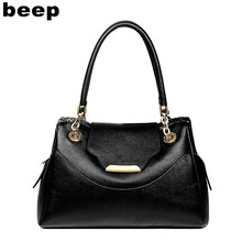 Beep Brand 2017 New Superior cowhide Leisure fashion Genuine Leather bag tote women leather shoulder bag