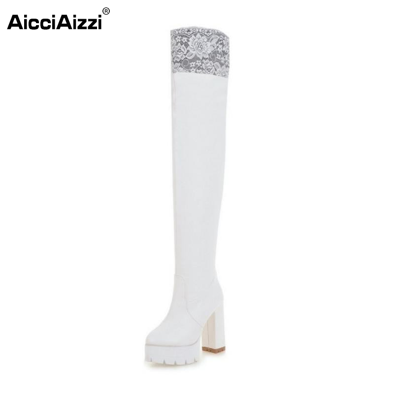New Women Sexy Fashion Lace Over The Knee Boot Thick High Heel Long Boots Platform Woman Heels  Shoes Footwear Size 34-43 2016 new spring and summer fashion thick with the heel lace leisure wild white shoes student shoes for women boots