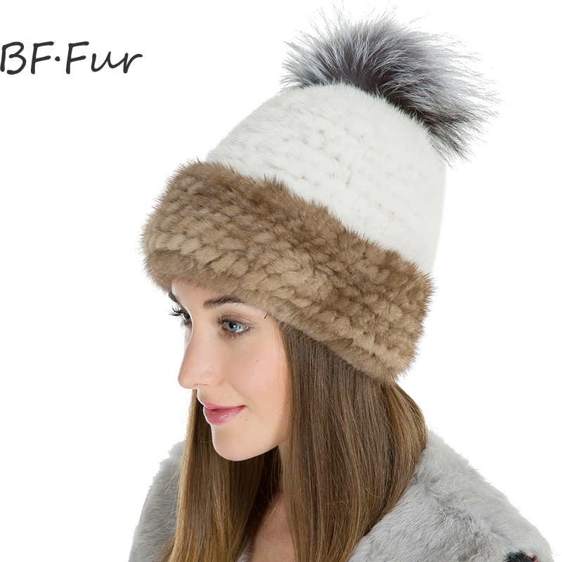 Real Mink PomPoms Hat Women Animal Fur Winter Warm Beanies Knitted Cotton Solid Cap Fashion Natural Color Adult Bonnet Brown russian real mink fur hat for female animal fur winter warm beanies fashion solid color cap natural color bonnet girls hats