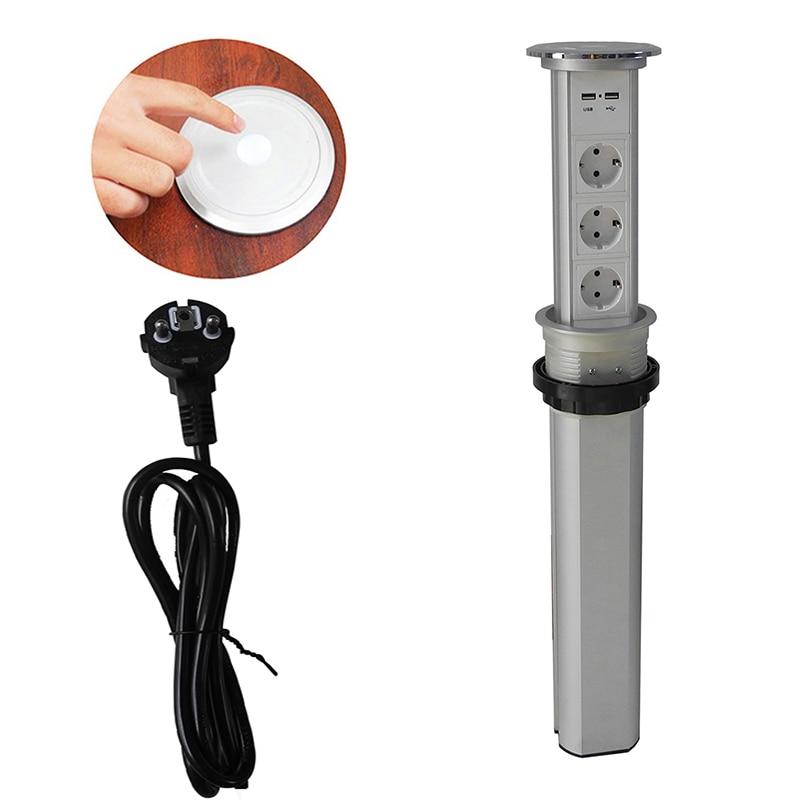 Spina di UE Touch screen/automatico di sollevamento elettrico da cucina presa nascosta presa intelligente multifunzionale di ricarica USB presa del desktop