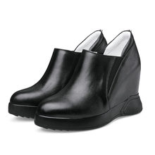 Trainers Shoes Women Genuine Leather High Heel Pumps Wedges Platform Party Ankle Boots Round Toe Punk Creeper Casual