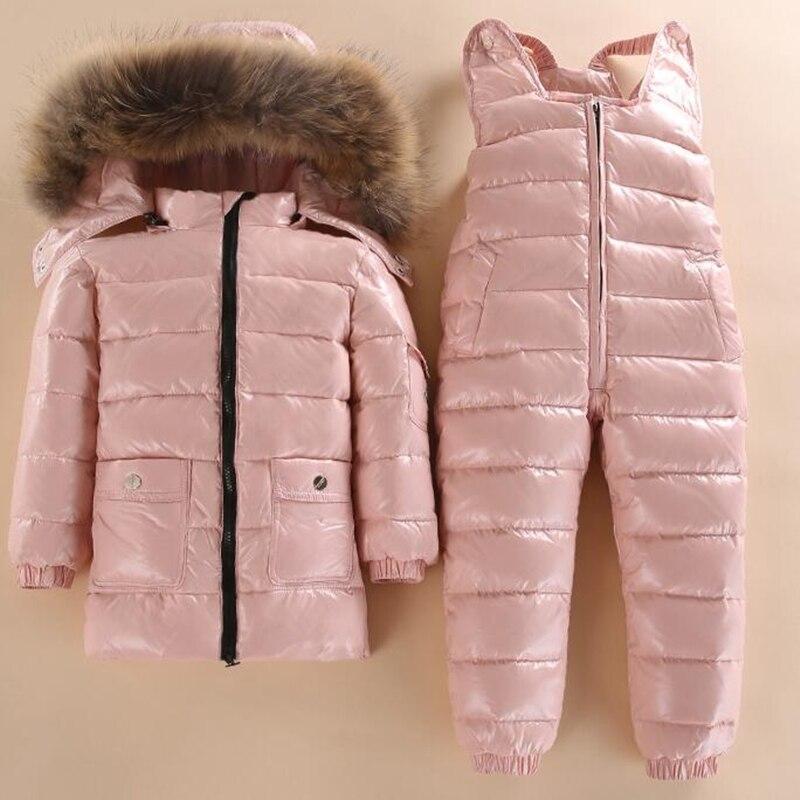 Novo Estilo Desgaste Do Esqui Do Inverno Do Bebê Jaqueta de Crianças Para Baixo Meninos E Meninas Jaqueta de Inverno Infantil Menino Parka Neve Conjunto quente