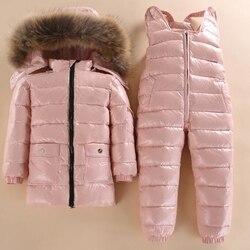 Nuevo estilo niños abajo chaqueta bebé invierno esquí desgaste niños y niñas chaqueta de invierno bebé niño Parka nieve conjunto cálido