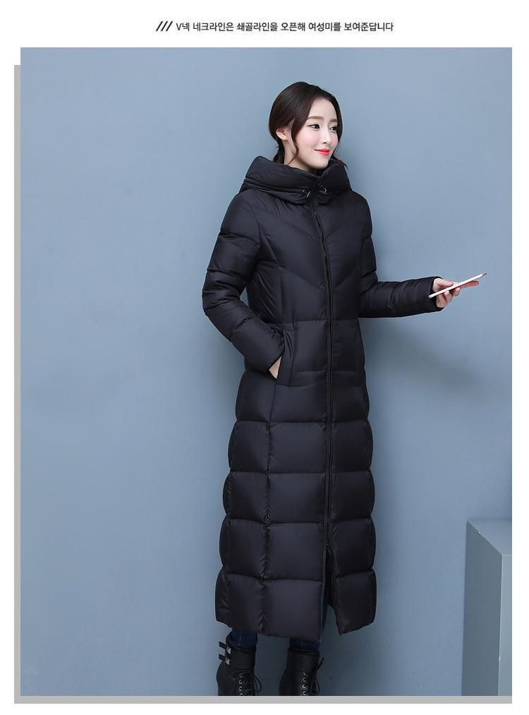 e9519e9052 2018 kobiet zima kaczki płaszcz puchowy ultra długie maxi długość ...
