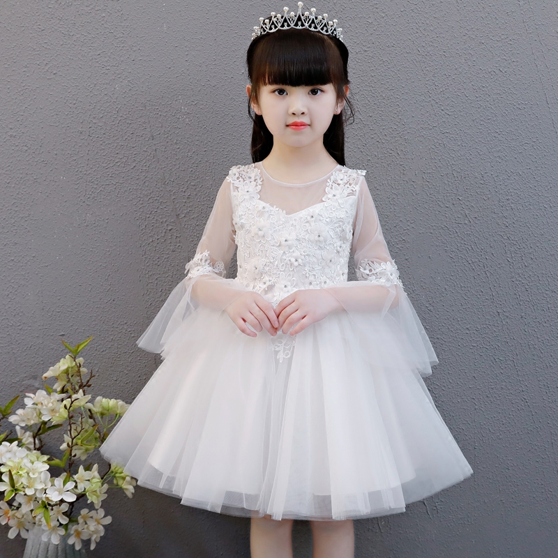 Flower Girls Dress White Wedding Birthday Pageant Bridesmaid Ball Gown 2018 Summer Princess Party Dresses Girl Clothes Size 3-13 flower girls dress embroidered sequin wedding pageant bridesmaid 2017 summer princess party dresses kids clothes size 7 14