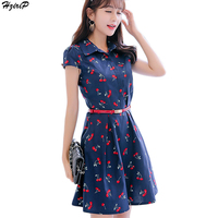 2017 Summer New Arrival Bodycon Cute Casual Women Dress Turn Down Collar Short Sleeve Cherry Print