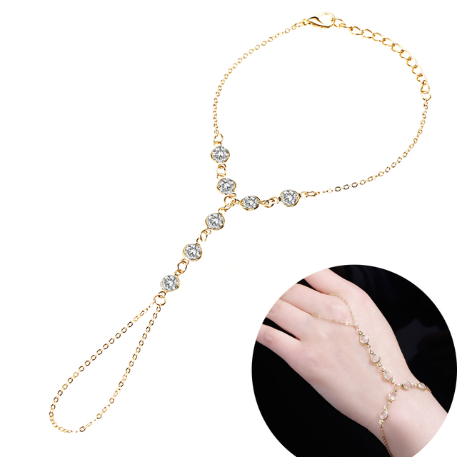 Temperament Elegant Women Wedding Crystal Slave Chain Gold Color Metal Hand Harness Bracelet Bohemian Indian Jewelry Shellhard