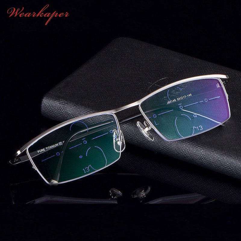 f88268a6fa Cheap WEARKAPER aleación de titanio multifocal gafas de lectura progresiva hombres  mujeres gafas de diópticas presbicia