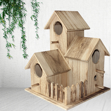 New wooden outdoor bird house breeding box  tiger skin peony parrot nest cage toy bed