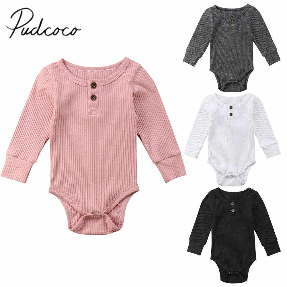 2018 Brand New Newborn Infant Baby Girls Boys 0-24M Autumn Winter Causal Bodysuits Long Sleeve Solid Cotton Jumpsuits Playsuit