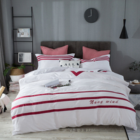 Pure White Red Streifen Stickerei 40 Count 100% Baumwolle Reine Farbe Satin Bettwäsche Set 3/4 Baumwolle Bettbezug Set Bettwäsche Bettwäsche