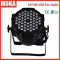 1 Pcs 54*3W LED par light dmx aluminium LED par can DMX 512 led par 64 light stage effect lighting disco bar night club lighting