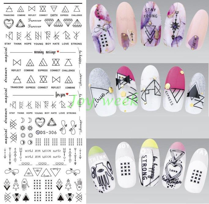 Water sticker for nails art all decorations sliders Geometric Oracle adhesive nail design decals manicure lacquer accessoires water sticker for nails art all decorations sliders merry christmas deer adhesive nail design decals manicure lacquer foil