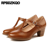 Brogue China Round Toe Medium Heels Shoes Oxford High Chunky Brown T Strap Genuine Leather Retro 2018 Spring Fashion Women Pumps