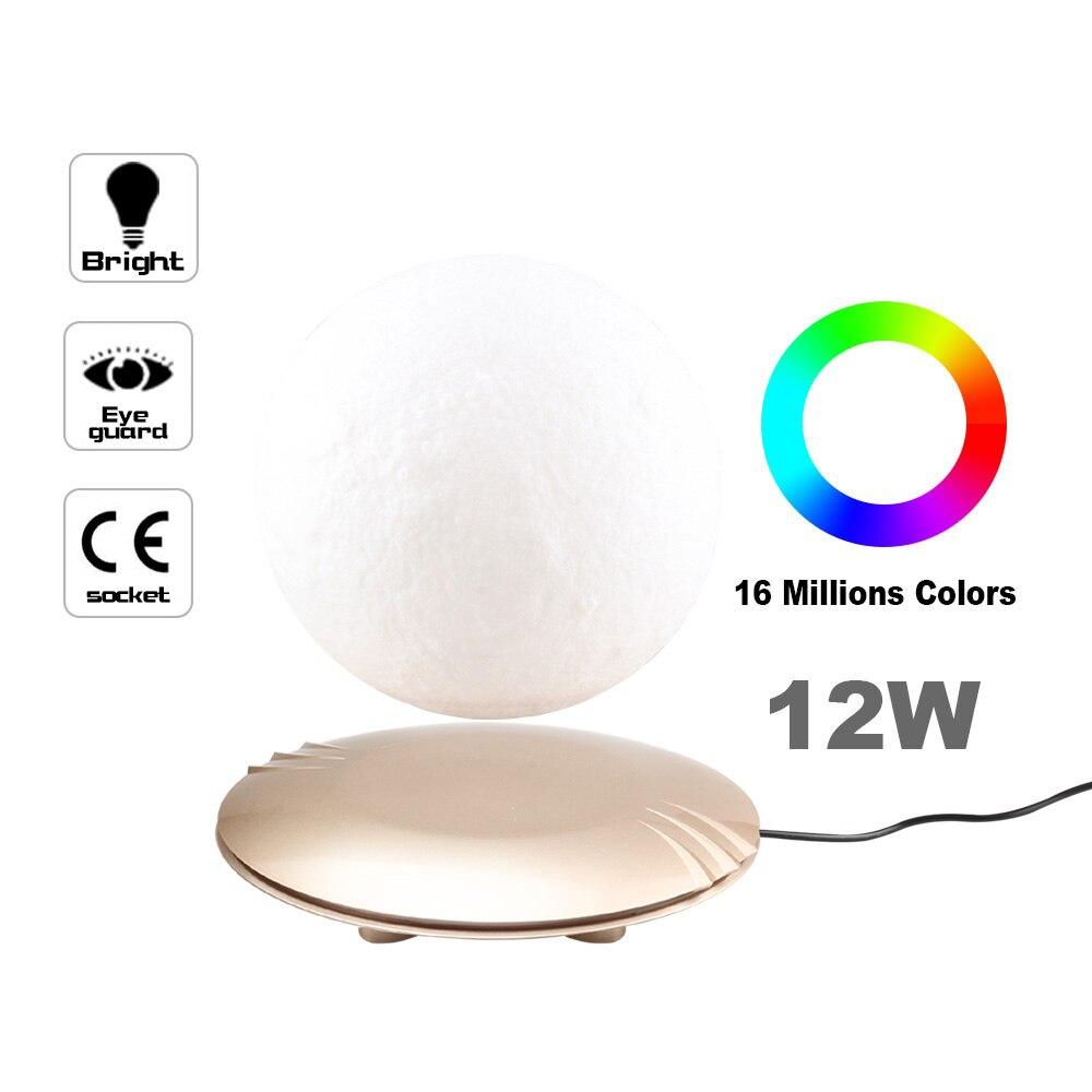 Lámpara de Luna impresa en 3D levitando 7 colores que cambian la luz LED de la noche para la decoración de Navidad del hogar Envío Directo # - 4