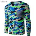 Men T-shirts Long Sleeve Spring Fashion tee shirt homme brand clothing casual tops & tees Camouflage style