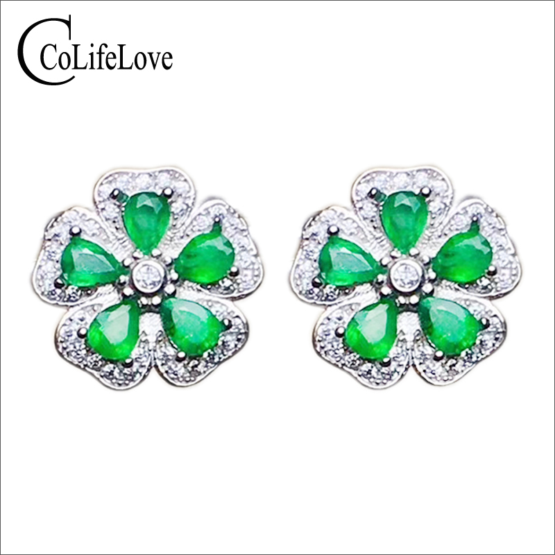 Classic flower stud earrings with emerald 10 pcs natural Zambia emerald stud earrings 925 silver emerald earrings for weddingClassic flower stud earrings with emerald 10 pcs natural Zambia emerald stud earrings 925 silver emerald earrings for wedding