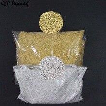 Гелевые наклейки г/пакет 100% золото/серебро лак для ногтей 0,6 мини круглый шарики из бисера/0,8 мм 1 мм Металл для декора Икра DIY 3d дизайн ногтей 400